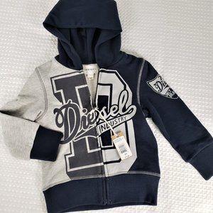 Diesel Gregio Melange Youth Zip Front Hoodie 4Y